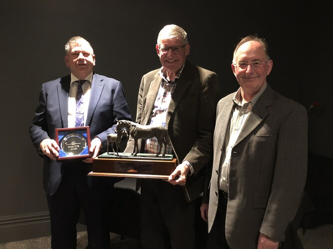 Ray Knight (centre) accepting the NZTBA Wellington Broodmare of the Year Award presented to Explosive Dancer on behalf of Luigi Muollo  pictured with Jeff Drinkwater and Wellington Branch President Darryl Burrow