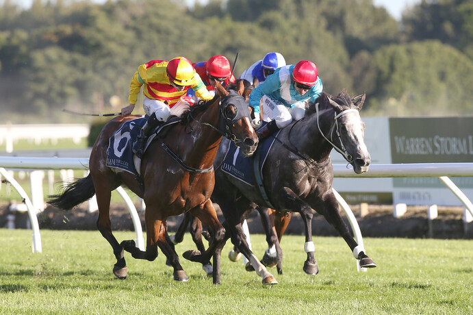 Pix ex Trish Dunell - Charmont (outer) defeats the Thee Auld Floozie in Saturday's Gr.1 NZ Thoroughbred Breeders' Stakes