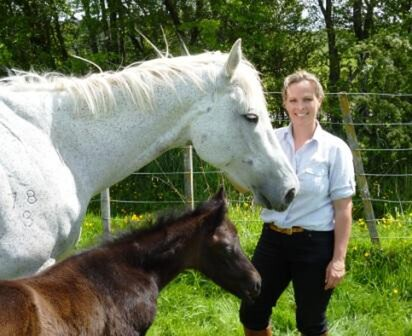 Photo:  Angela Williams at Te Parae with Maggie O'Reilly and her No Excuse Needed filly foal