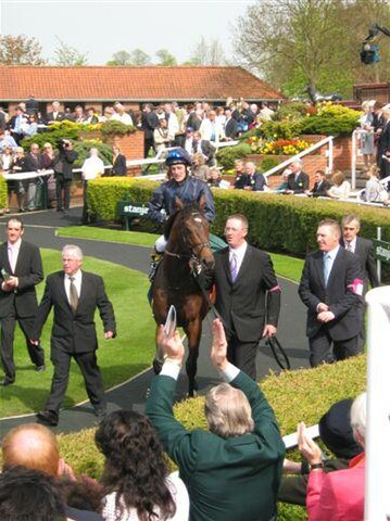Coolmore's Henrythenavigator  being led back to scale after winnning the English 2000 Guineas