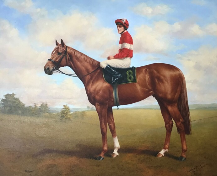Philamor - painted by artist Barbara Lewis with Reece Jones aboard wearing the Archer red-and-white silks