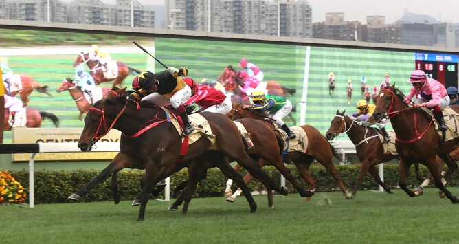 D B Pin winning the Gr.1 Centenary Sprint Cup (1200m) - Hong Kong Jockey Club