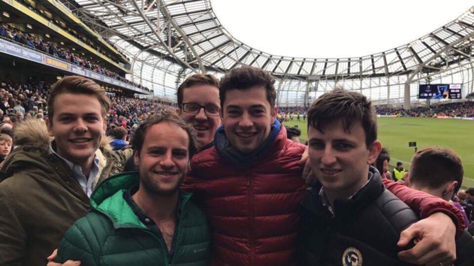 Leinster vs Wasps quarterfinal. To the left from right, Myself, Paul Potye, Ian Wilson (open your eyes mate), Christian Dodd, Stan Begley.