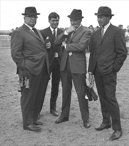 Eric Ropiha (right) pictured in the early 1970s with (from left) Gerald Fell, Dannevirke racing identity Tom Beatson and Arthur Fell.