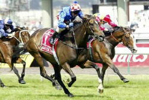 Makybe Diva winning her third Melbourne Cup