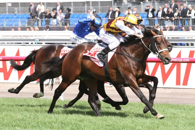 Preferment winning the VRC Gp.1 Derby - pic. Bruno Cannatelli