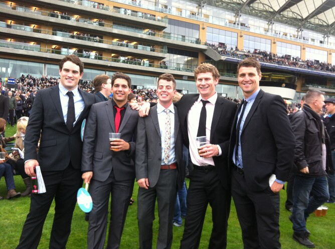 Jamie (centre) enjoys a never-to-be forgotten 'Ascot Experience' with his mates