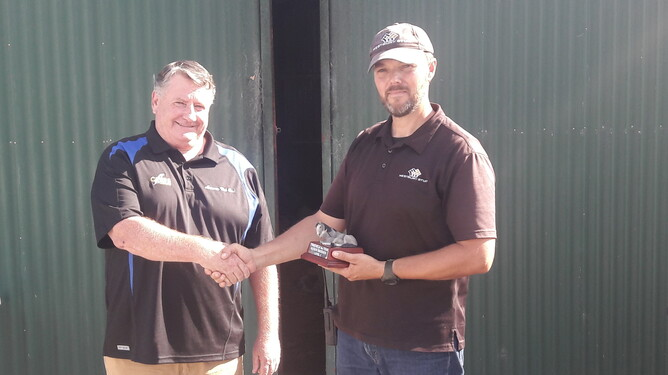 David Liebenberg receiving his Trainee of the Year Award presented to him by NZTBA Waikato president Keith Lunn