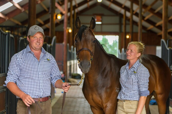 Adrian Stanley and Hannah Kettlety with Lot 323 - Dundeel x Lady Who colt  - Michael RIst