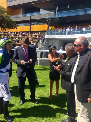 Dwayne Dunn, David Hayes, Dinar Collinson, Costa Feneridis and John Collinson at Royal Randwick