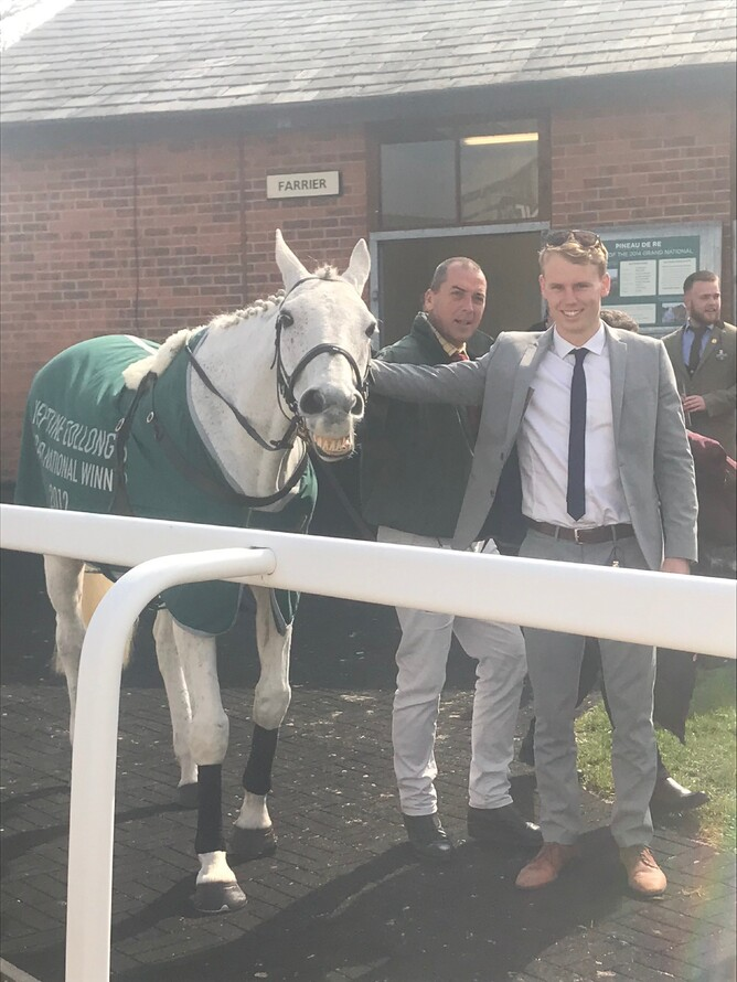 Sam and Neptune Collonges smiling for the camera - He was the 2012 grand national winner by the smallest ever margin in the history of the race. A nose.