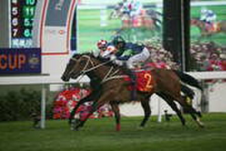 Russian Pearl holds off Best Gift in The Stewards' Cup.  - PHOTO: HKJC