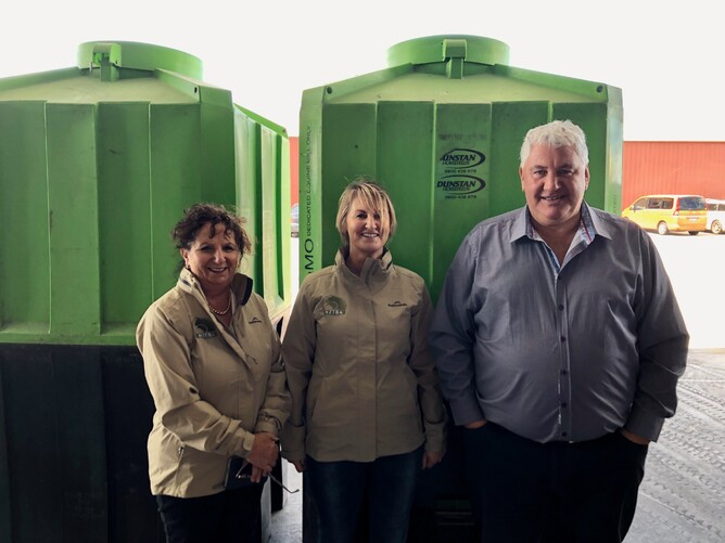 Michelle Saba and Justine Sclater enjoying a tour of the Dunstan Horsefeeds factory with David Smith
