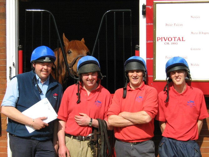The stallion team: Left to Right- Dale Clements(Stud Groom), John, Ricky and Pau