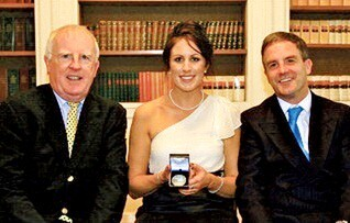 Georgina Bolton, the Gold Medal Winner, with John McStay (left) and John Osborne, INS Chief Executive