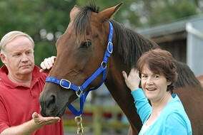 Michael Martin and Susan Archer pictured with the champion mare they bred SUNLINE.